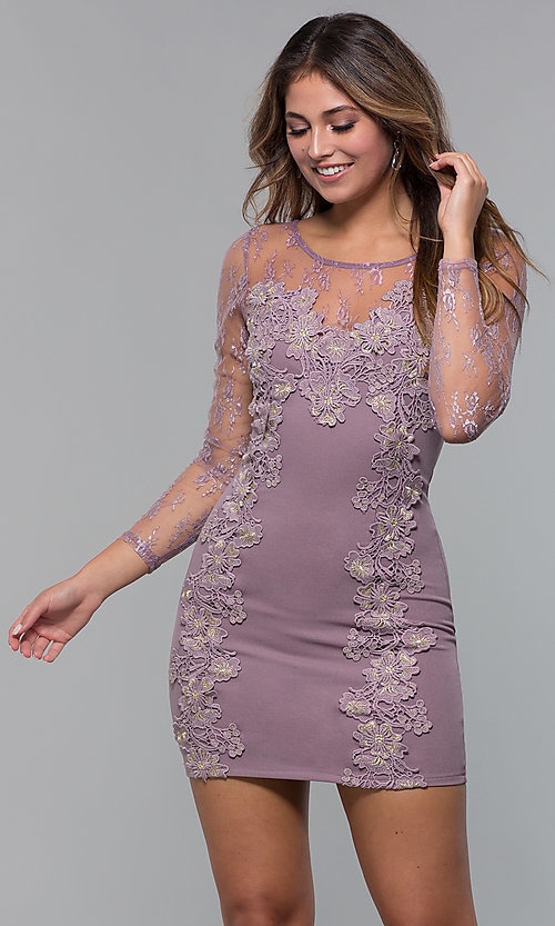 Image of long-sleeve lace-applique short party dress. Style: SOI-S18192 Detail Image 5