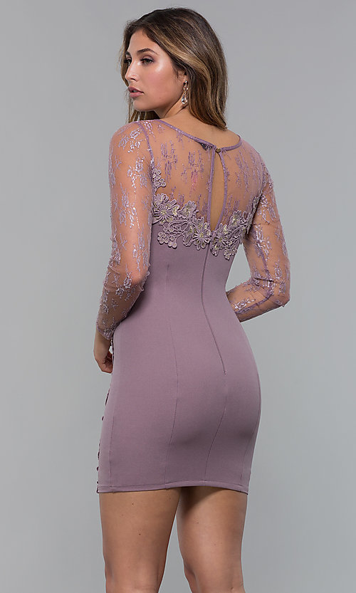 Image of long-sleeve lace-applique short party dress. Style: SOI-S18192 Back Image