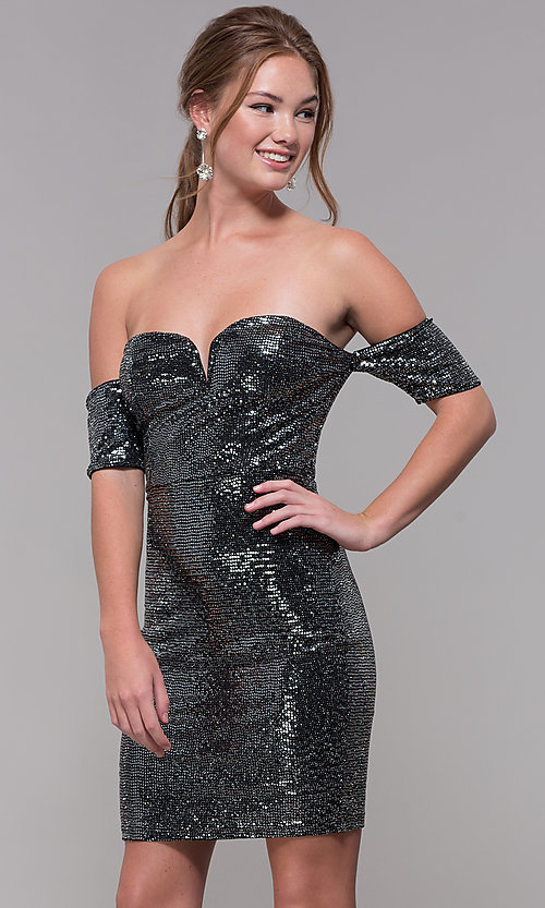 c8766d810b8 Image of sequin banded-sleeve sweetheart short prom dress. Style   SOI-S18349B68