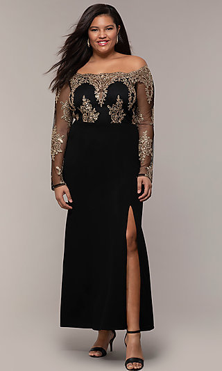 Long Sleeve Embroidered Bodice Plus-size Prom Dress