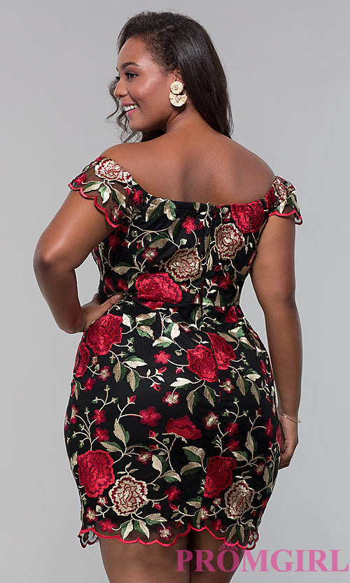 Image of plus off-the-shoulder party dress with embroidery. Style: SOI-PS40049 Back Image