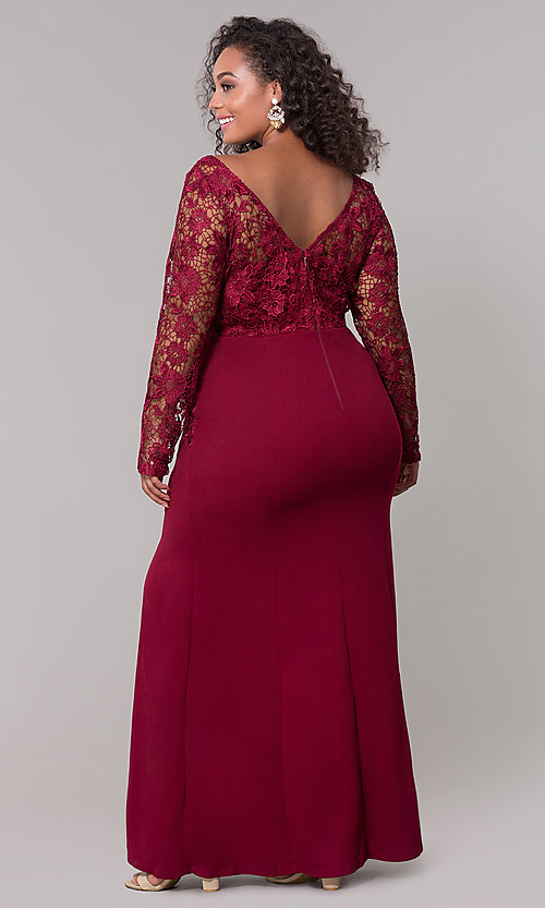 Plus-Size Long-Sleeve V-Neck Prom Dress - PromGirl