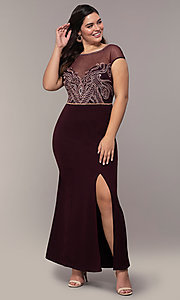 Image of long plus-size embroidered-bodice prom dress. Style: SOI-PM40092B51 Detail Image 3