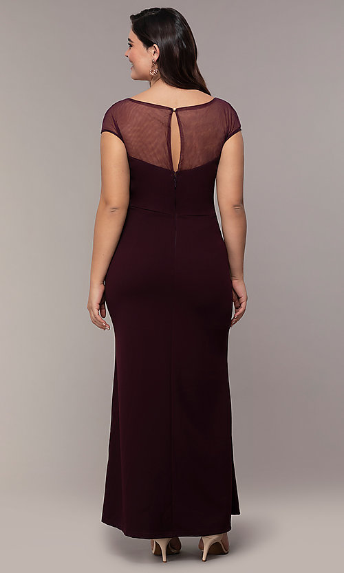 Image of long plus-size embroidered-bodice prom dress. Style: SOI-PM40092B51 Back Image