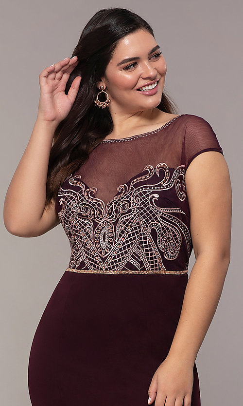 Image of long plus-size embroidered-bodice prom dress. Style: SOI-PM40092B51 Detail Image 1