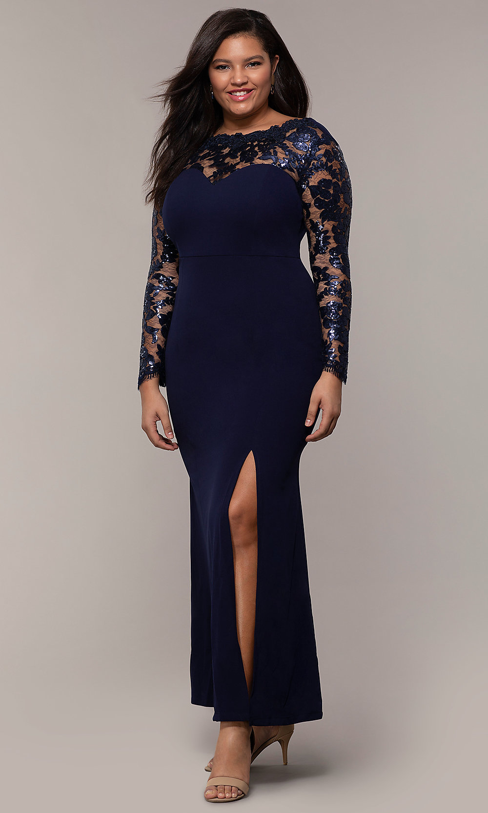 Long-Sleeve Plus-Size Long Prom Dress with Lace