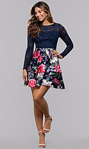 Image of short long-sleeve homecoming dress by PromGirl. Style: MCR-PL-2665 Detail Image 3