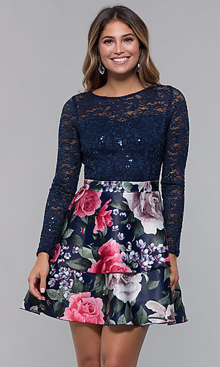 Short Homecoming Dress with Long Sleeves by PromGirl