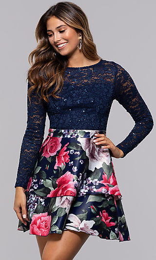 Short Long-Sleeve Homecoming Dress by PromGirl