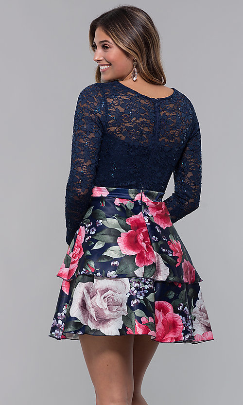 Image of short long-sleeve homecoming dress by PromGirl. Style: MCR-PL-2665 Back Image