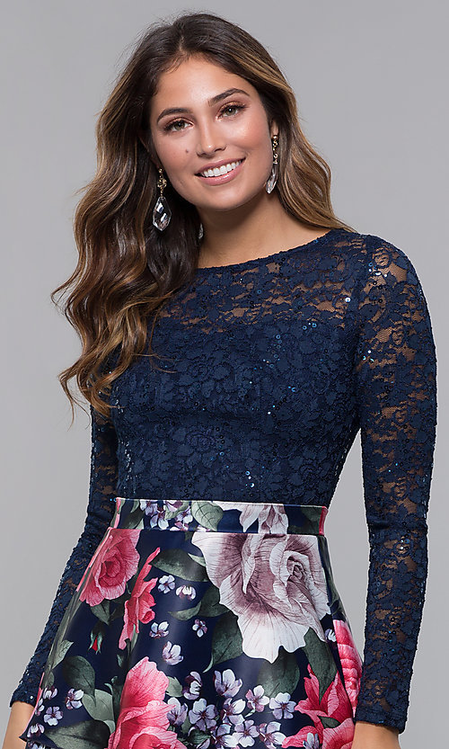 Image of short long-sleeve homecoming dress by PromGirl. Style: MCR-PL-2665 Detail Image 1