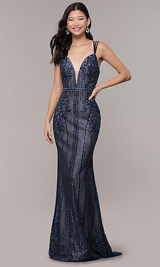 Vintage-Inspired Multi-Strap Long V-Neck Prom Dress