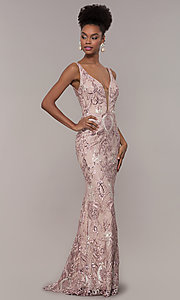 Image of long rose pink sequin-embroidered v-neck prom dress. Style: NC-2216 Front Image