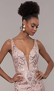 Image of long rose pink sequin-embroidered v-neck prom dress. Style: NC-2216 Detail Image 1