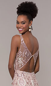 Image of long rose pink sequin-embroidered v-neck prom dress. Style: NC-2216 Detail Image 2