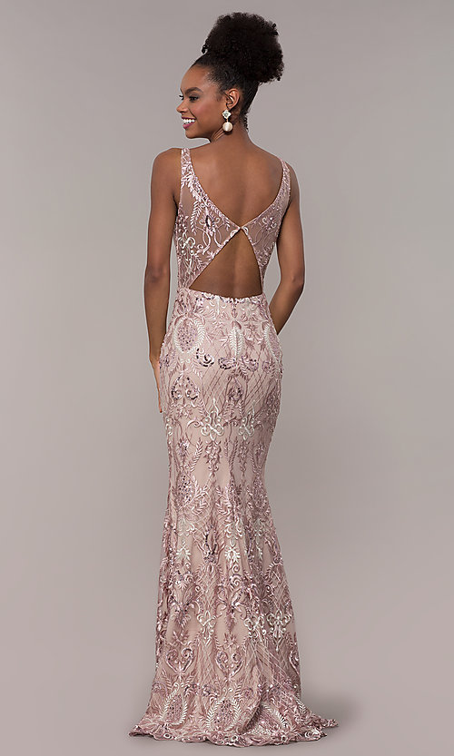 Image of long rose pink sequin-embroidered v-neck prom dress. Style: NC-2216 Back Image