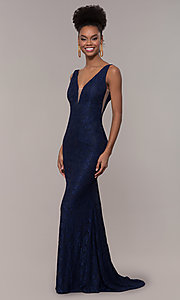 Image of illusion-inset v-neck long lace prom dress. Style: NC-2229 Front Image