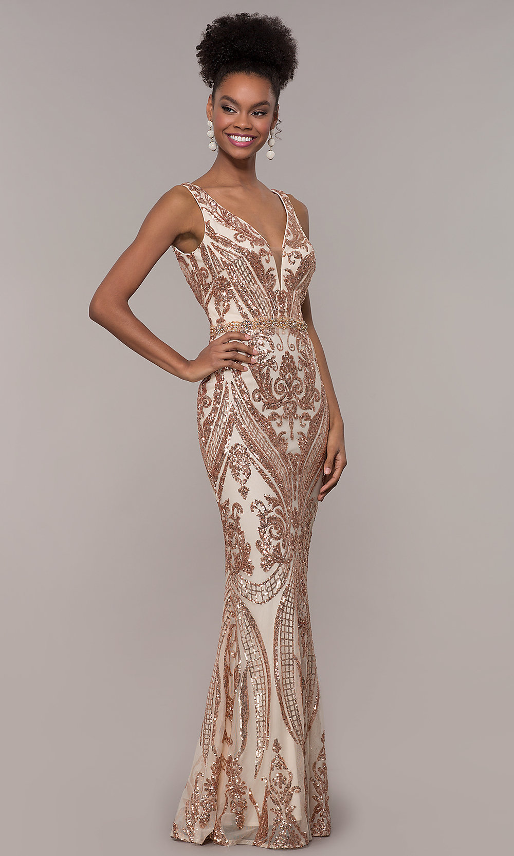 2727a396 Vintage-Inspired Sequin-Mesh Long V-Neck Prom Dress