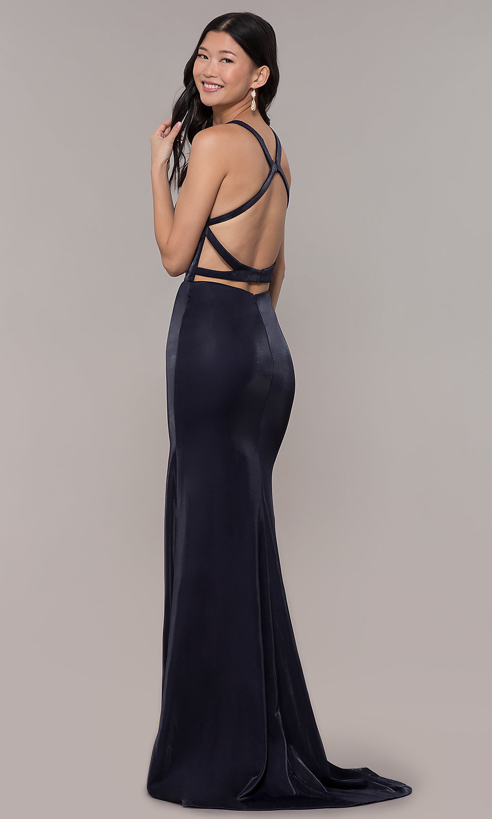 e859576417a1 Image of cut-out open-back long v-neck formal prom dress. Tap to expand