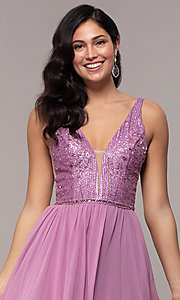 Image of long chiffon prom dress with v-neck glitter bodice. Style: NC-8159-1 Detail Image 1