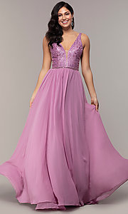 Image of long chiffon prom dress with v-neck glitter bodice. Style: NC-8159-1 Detail Image 3