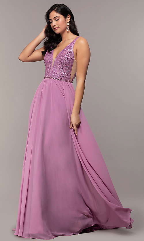 Image of long chiffon prom dress with v-neck glitter bodice. Style: NC-8159-1 Front Image