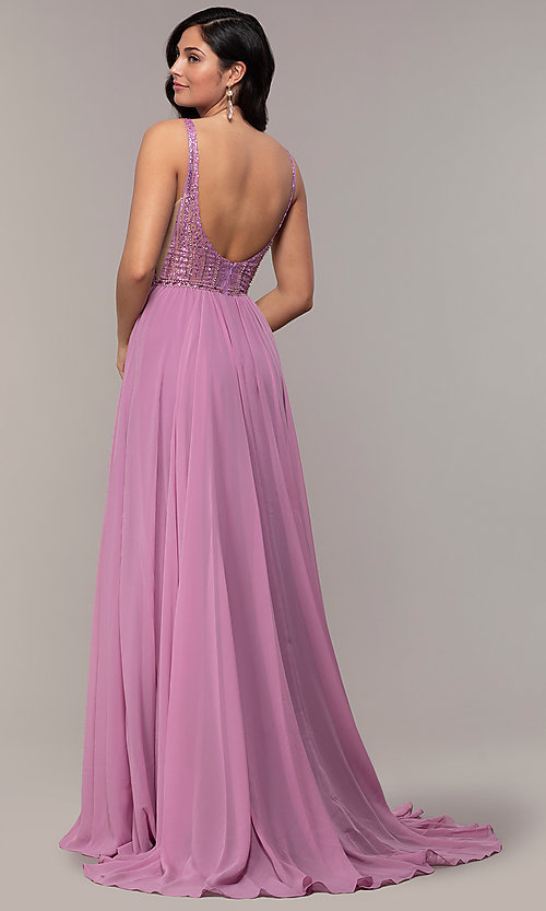 Image of long chiffon prom dress with v-neck glitter bodice. Style: NC-8159-1 Back Image