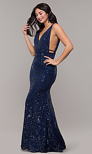 Image of long vintage-inspired sequin v-neck prom dress. Style: NC-2236 Detail Image 4