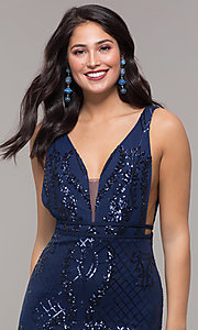Image of long vintage-inspired sequin v-neck prom dress. Style: NC-2236 Detail Image 6