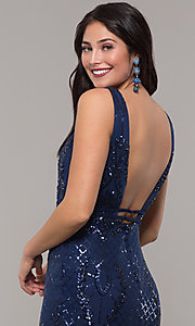 Image of long vintage-inspired sequin v-neck prom dress. Style: NC-2236 Detail Image 7