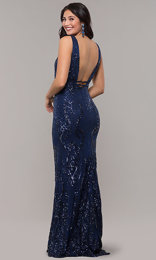 Image of long vintage-inspired sequin v-neck prom dress. Style: NC-2236 Detail Image 5