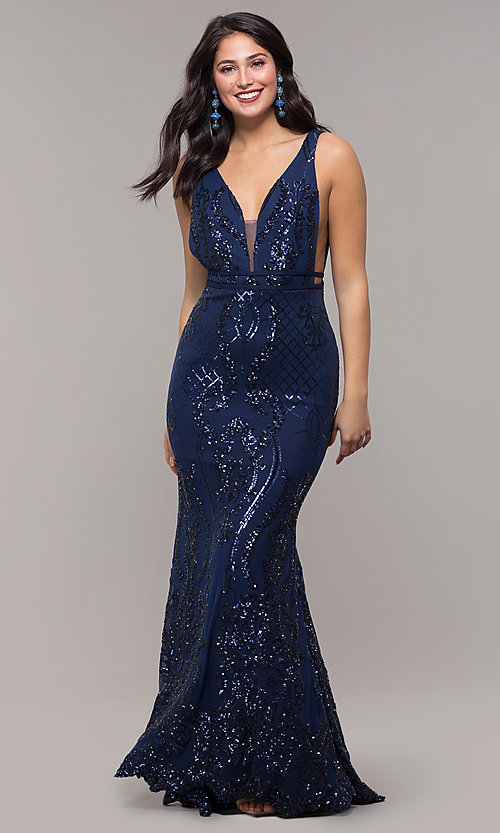 Image of long vintage-inspired sequin v-neck prom dress. Style: NC-2236 Detail Image 8