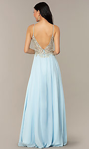 Image of a-line v-neck designer prom dress by Nina Canacci. Style: NC-3151 Back Image