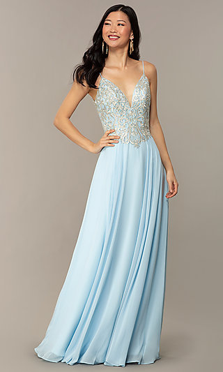 A-Line V-Neck Designer Prom Dress by Nina Canacci