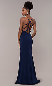 Image of long formal v-neck prom dress with caged open back. Style: NC-1417 Front Image