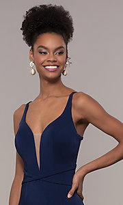 Image of long formal v-neck prom dress with caged open back. Style: NC-1417 Detail Image 1