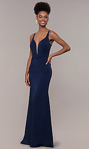 Image of long formal v-neck prom dress with caged open back. Style: NC-1417 Detail Image 3