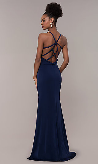 Long V-Neck Prom Dress with Caged Back
