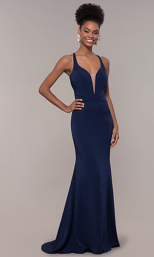 Image of long formal v-neck prom dress with caged open back. Style: NC-1417 Back Image