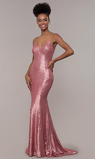Sequin V-Neck Prom Dress with Long Trumpet Skirt