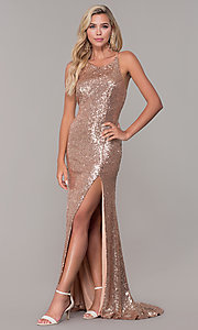 Image of Dave and Johnny sequin long prom dress. Style: DJ-A7574 Back Image