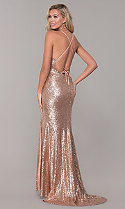 Image of Dave and Johnny sequin long prom dress. Style: DJ-A7574 Front Image