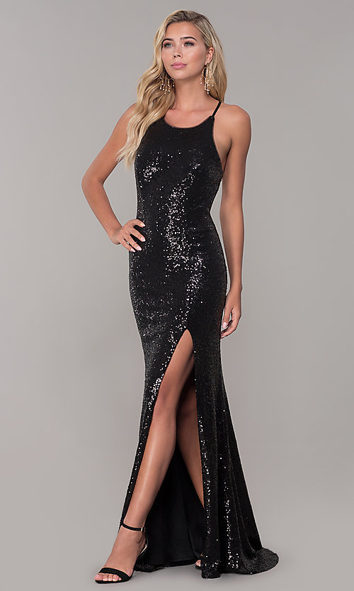 Image of Dave and Johnny sequin long prom dress. Style: DJ-A7574 Detail Image 3