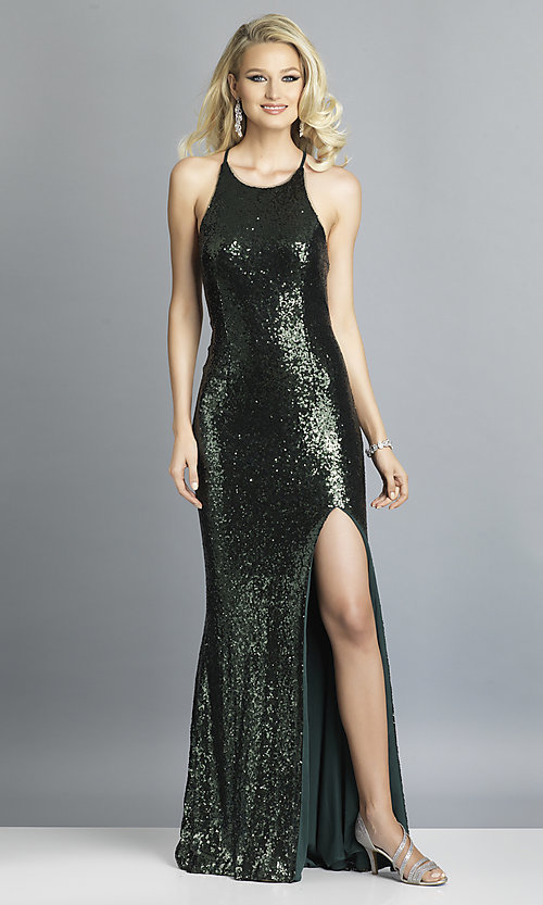 Image of Dave and Johnny sequin long prom dress. Style: DJ-A7574 Detail Image 7