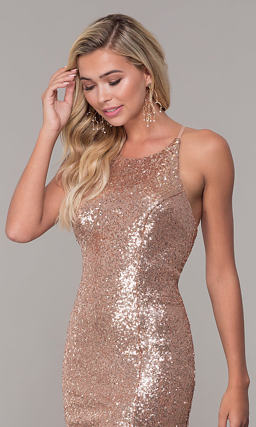 Image of Dave and Johnny sequin long prom dress. Style: DJ-A7574 Detail Image 1