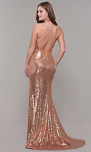 Image of long v-neck sequin Dave and Johnny Prom Dress. Style: DJ-A7832 Back Image