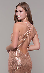 Image of long v-neck sequin Dave and Johnny Prom Dress. Style: DJ-A7832 Detail Image 2