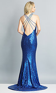 Image of long v-neck sequin Dave and Johnny Prom Dress. Style: DJ-A7832 Detail Image 5
