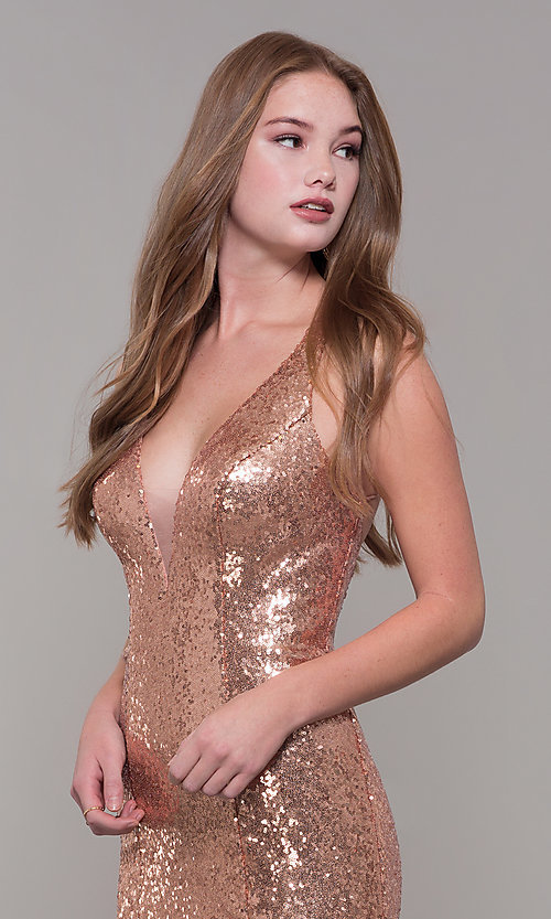 Image of long v-neck sequin Dave and Johnny Prom Dress. Style: DJ-A7832 Detail Image 1