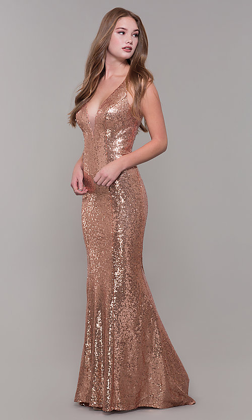 Image of long v-neck sequin Dave and Johnny Prom Dress. Style: DJ-A7832 Detail Image 3